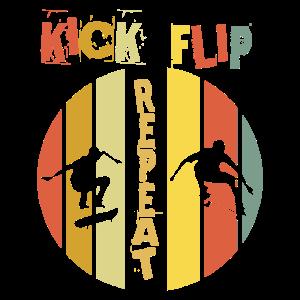 Kick Flip Repeat Skater Tricks Halfpipe Geschenk