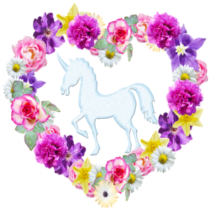 Unicorn Flower Love Heart