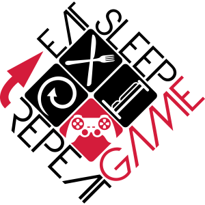 eat sleep game repeat controller logo