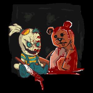 horror puppe killt teddy baeren