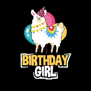 Lama Girl Alpaca Birthday