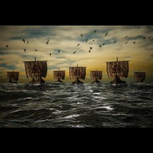 Wikingerschiffe auf hoher See Poster Geschenk