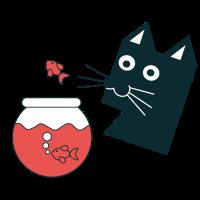 Katze mit Goldfisch
