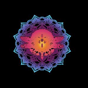 Coole mystische Libellen-Mandala-Grafik geistig