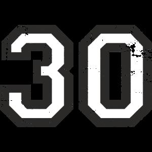 Zahl 30 Nummer Dreißig 30. Geburtstag