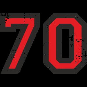 Zahl 70 Nummer Siebzig 70. Geburtstag