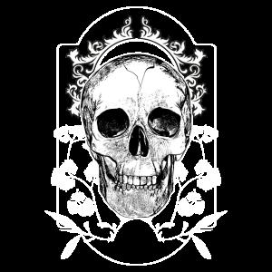 Totenkopf mit Blumen Halloween Gothic elegant