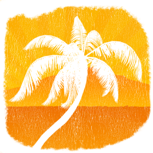 Palme Palmen Sonnenuntergang Strand Retro