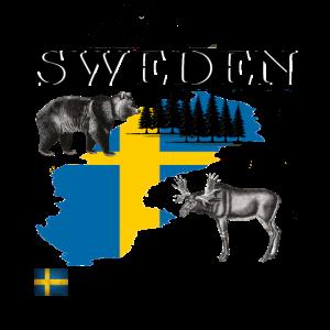 Sweden,Camping,Natur,Flag,Geschenk,cool,Elch,Bär