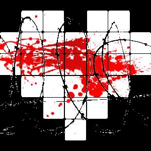 Pixelherz weiß mit Stacheldraht und Blut