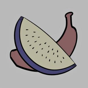 bunte Banane mit bunter Wassermelone