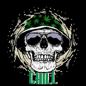 Chilling Cannabis Schädel