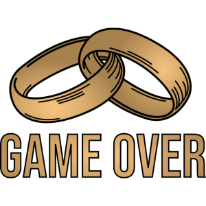 Game Over Junggesellenabschied JGA Poltern gold