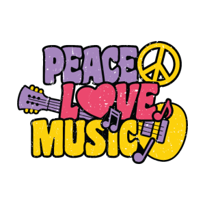 Peace Love Music Hippie Musik Festival 70s no war