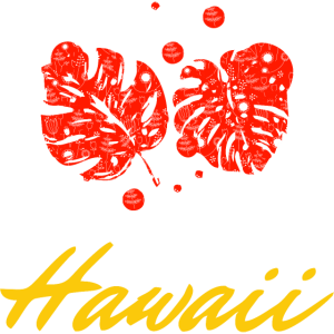 Palmblätter Hawaii rot gold