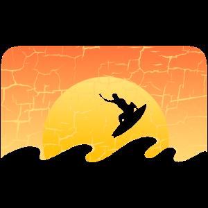 Surfen auf Sonnenaufgang