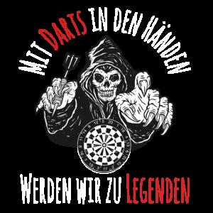 Darts Dart spielen Dart Spieler Totenkopf Legenden