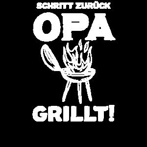 Schritt zurueck Opa Grillt Grillen BBQ Grillen