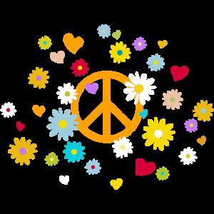 Peacezeichen Blumen Herz flower power Valentinstag