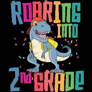 2. Grad T Rex, der zurück zu Schul-T-Shirt brüllt