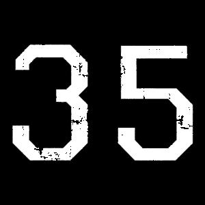 Zahl 35 Nummer Fünfunddreißig 35. Geburtstag