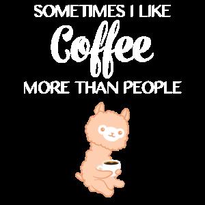 Lama - Lama T-Shirt - Kaffee - Kaffeetrinker