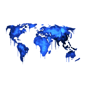 Worldmap Watercolor Blue