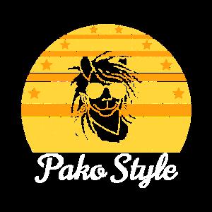 Alpaka Retro Pako Style mehrfarbig alt Geschenk