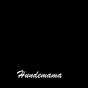 Pfote schwarz mit weißen Schriftzug Hundemama love