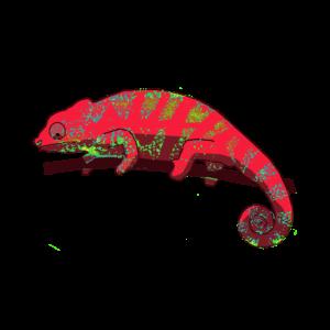 lustiges Chameleon in der Trendfarbe rot