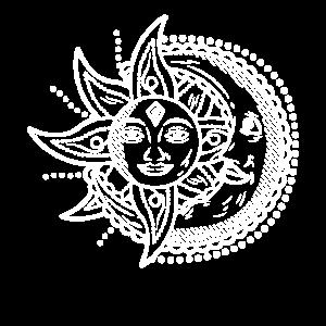 sun Moon Sonne Mond Gute Nacht Halbmond yin yang