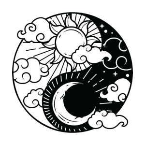 Sun Moon Yin Yang Sonne Halbmond Meditation