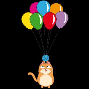 Mollig Katze mit Ballon