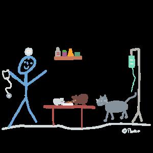 Tierarzt Strichmännchen Katze Maus Haustier Job