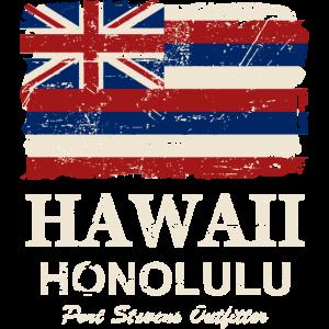 Hawaii Flag - Honolulu - Vintage Look