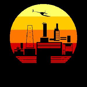Retro Vintage Atomkraftwerk Industrie Firmen