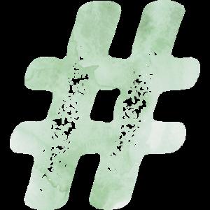 Hashtag - Watercolor