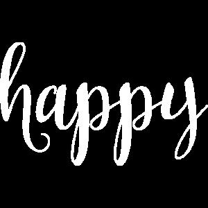 Schriftzug HAPPY verschnörkelt in weiss