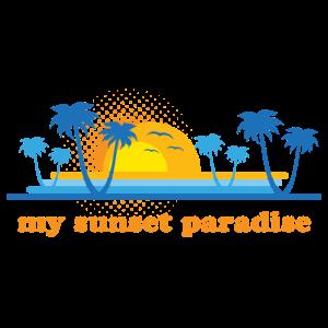 my sunset paradise - retro orange & blue