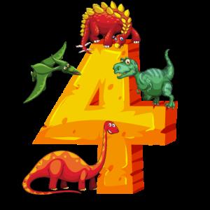 4 Jahre Geburtstag Dinosaurier Dino TRex Geschenk
