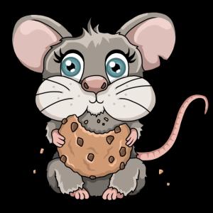 Süße Maus Keks Brösel Cartoon Illustration
