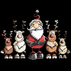 Weihnachtsmann unter Rentieren