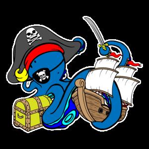 Pirat Kraken Schatztruhe Kapitän Schiff Säbel