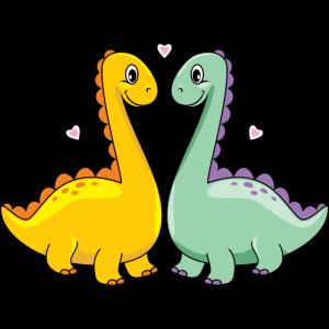 Zwei lustige verliebte Dinos