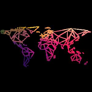 Weltkarte Geometrisch bunt Regenbogen