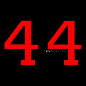 Zahl 44 Nummer Vierundvierzig 44. Geburtstag