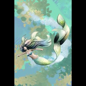 Plakat der Meerjungfrau in Grünem und in Blauem