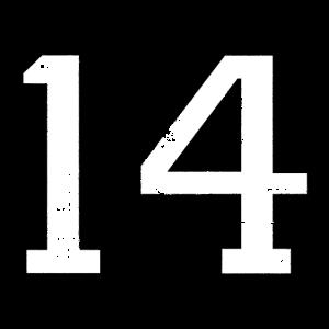 Zahl 14 Nummer Vierzehn 14. Geburtstag Vierzehnter