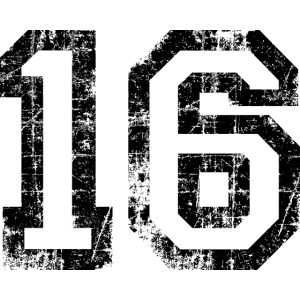 Zahl 16 Nummer Sechzehn 16. Geburtstag Sechzehnter