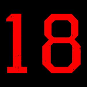 Zahl 18 Nummer Achtzehn 18. Geburtstag Achtzehnter